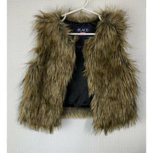 Childrens Place Vest Brown Faux Fur Open Front